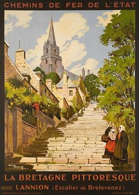 Vintage Lannion Picturesque Brittany French Tourism Poster Print A3/A4