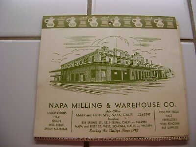 Vintage 1969 Napa Milling & Warehouse Co. Calendar with Recipes