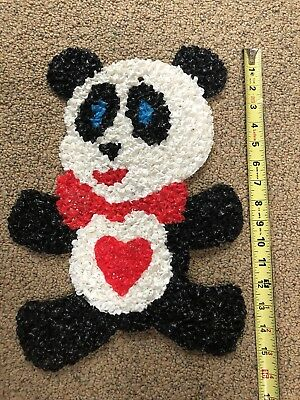 """Vintage Valentines Day Panda Bear Melted Plastic Popcorn 15"""" Tall Good Condition"""