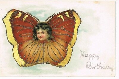 """ANTIQUE BIRTHDAY Postcard     """"MS. BUTTERFLY"""""""