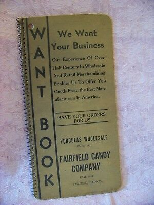 Vintage Fairfield Illinois Advertising-Fairfield Candy Company Want Book 1950s