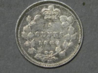 1880 H CANADIAN 5 CENT PIECE ALMOST UNCIRCULATED VICTORA REVERSE #5657 glb