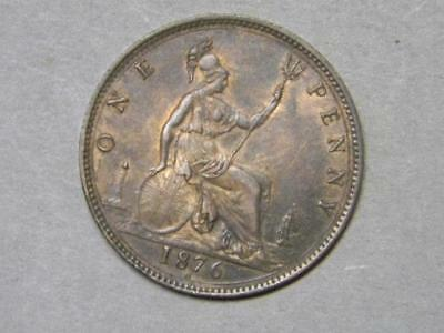 1876 H LARGE DATE ONE PENNY GREAT BRITAIN ALMOST UNCIRCULATED #6465 glb