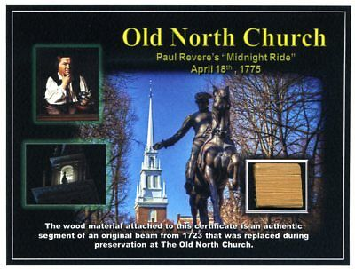 The Old North Church - Genuine Piece of a Wood Beam From the Old North Church