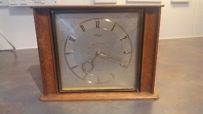 Vintage Retro German KIENZLE Wind up gold colour Brass Mantle Clock Full Working