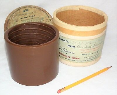 """Rare Vintage 5"""" Concert Brown Columbia Grand Concert Phonograph Cylinder Record"""