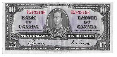 1937 Canadian 10 Dollar Bill (F)