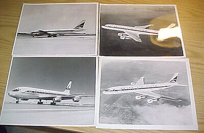 Lot of 4 original delta airliner promotional photos - DC-8s, 8 x 10 glossy B&W's