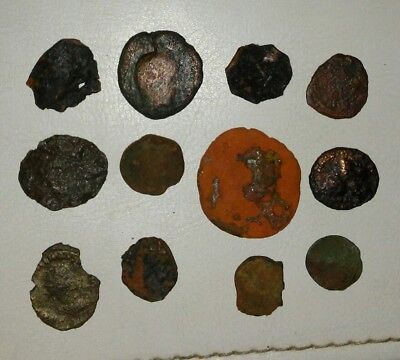 Lot of 12 Unidentified Ancient Roman, Arab and Greek Coins