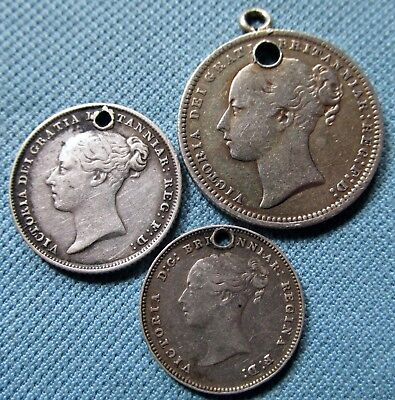 Lot of 3 1800s Queen Victoria British Silver Coins Holed For Suspension -Jewlery