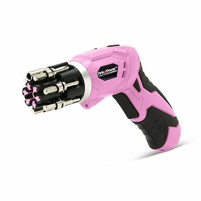 Pink Power 3.6 Volt Rechargeable Cordless Electric Screwdriver Set with Bubbl...