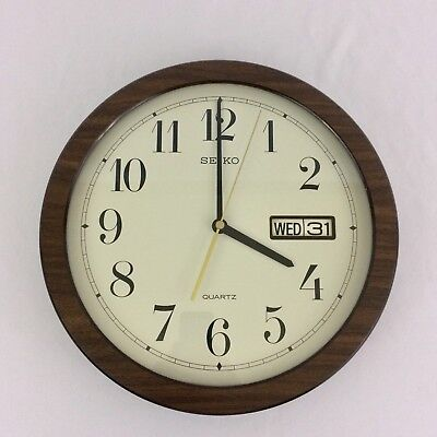 "Vintage Seiko 31 Day Calendar Wall Clock Glass Faux Wood 70s Date Time 12"" Retro"