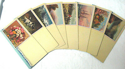 Lot of 8 Unused Vintage Ink Blotters With Color Art - Dogs Flowers Landscapes ++