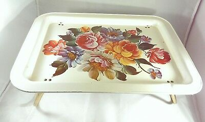Vintage Tole Metal Bed Lap TV Tray Fold Down Legs Painted Flowers Toleware