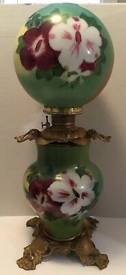 """Gone With The Wind Oil Lamp Hand Painted Flowers Victorian Gorgeous Large 28"""""""