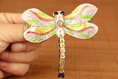 rare china old Plating silver cloisonne hand carving dragonfly statue Pendant
