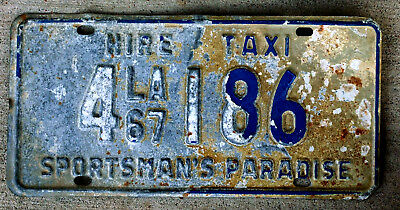 1967 Blue on White Louisiana Hire Taxi License Plate