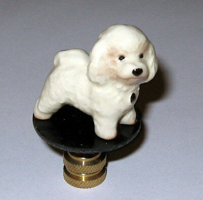 Bichon Frise Lamp Finial, lamp topper, porcelain, new, dog