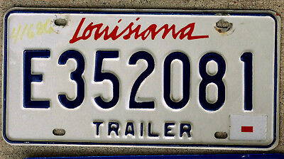"""Red White and Blue/Blue Bordered Lipstick """"Louisiana"""" Trailer License Plate"""