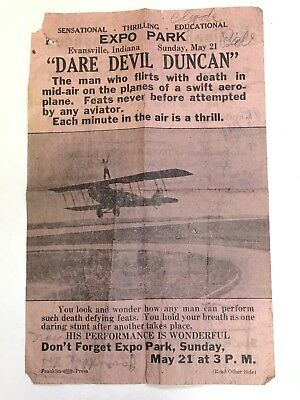 Rare Original 1922 Broadside Pilot Dare Devil At Cook's Beer Park Evansville IN