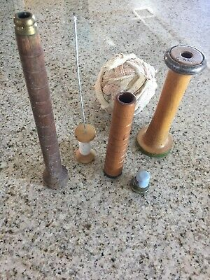 "4 Vintage mid -Large Industrial Textile Wood Bobbin Spindle Spool 5"" - 10"" Tall"