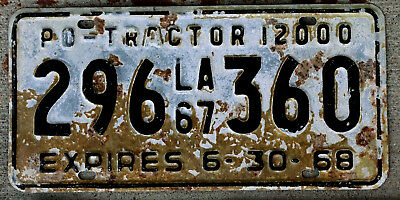 1967 Louisiana Privately Owned [PO] 12000 Lb. Tractor License Plate