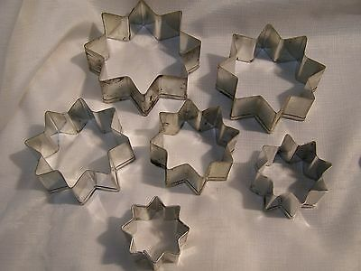 6 Vintage Metal Tin Cookie Cutters Nesting Stars All Eight Point Stars