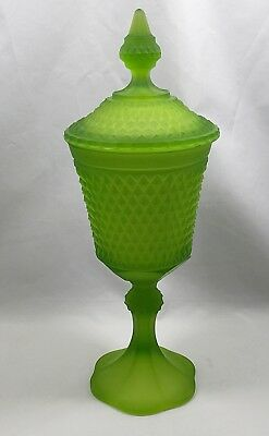 Indiana Green Frosted Diamond Point Glass Covered Compote