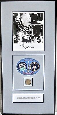 John Glenn Signed NASA Astronaut Mercury 7 Framed Patch Etc. Alan Shepard
