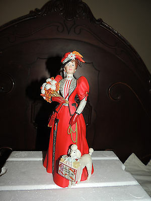 """Avon Presidents Club Award""""Mrs Albee""""1997 Beautiful Red Outfit W Poodle Dog NICE"""