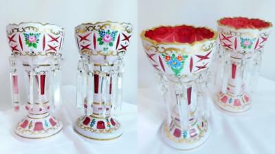 BOHEMIAN-MANTLE-LUSTERS-WHITE-CUT-TO-PINK-HAND-PAINTED-FLOWERS-c-1930  BOHEMIA