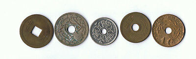 5 x HOLE WORLD COINS MIXED REGIONS LOT 9