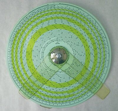 Gilson Atlas Spiral Slide Rule, green tint, perfect condition