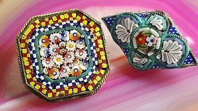Lot of Two Antique Vintage Micro Mosaic Pin / Brooch Flower Made in Italy