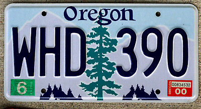 Oregon Pine Tree over Purple Mountains with Blue Sky License Plate 2000 Sticker