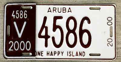 2000 Aruba License Plate with the Half-Year Control Revalidation Piece