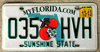 Florida Twin Oranges over a Green State Outline License Plate - 2013 Sticker