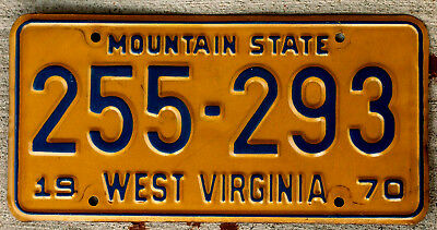 "1970 Blue on Orange West Virginia License Plate ""Mountain State"""
