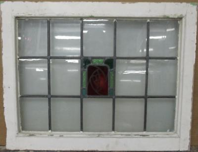 "MID SIZE OLD ENGLISH LEADED STAINED GLASS WINDOW Hand Painted Floral 26"" x 20.25"