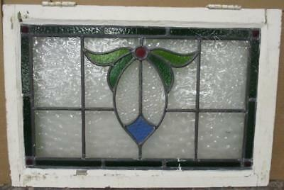 "OLD ENGLISH LEADED STAINED GLASS WINDOW TRANSOM Nice Bordered Abstract 27"" x 18"""