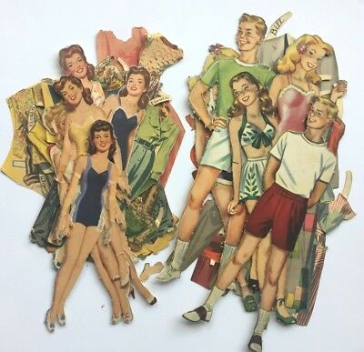 Lot of vintage paper dolls, 2 partial cut sets from 1944