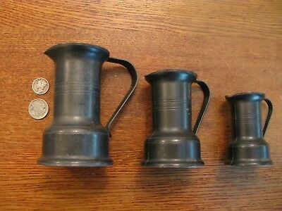 Antique French Country Primitive Pewter Measure Pitchers DAMART FRANCE