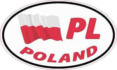 5X3 Oval PL Poland Flag Sticker Vinyl Travel Vehicle Flag Cup Decal Car Stickers