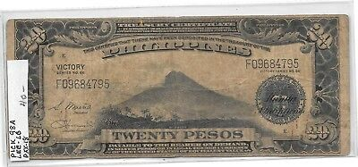 Nd 1944 Philippine 20 Peso Victory Note Pick #98A  #1