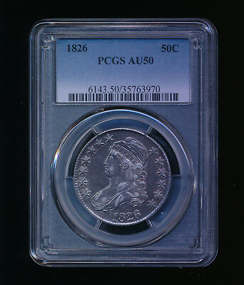 1826-P Capped Bust Silver Half Dollar 50C PCGS AU 50 Type 1, Lettered Edge RARE