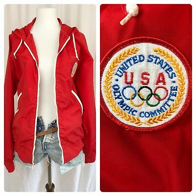 80s Vtg Red Team USA Lake Placid Olympics 1980 Levi's Windbreaker Track Jacket M