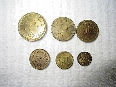 Set Of 6 John Maris Coin Type Apothecary Scale Weight Tokens