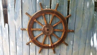 Huge Antique 44'' 10 Spoke Wood and Metal Ship's Wheel. Heavy 68.8 lbs.