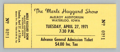 UNUSED! 1971 Vintage MERLE HAGGARD SHOW Country Music CONCERT TICKET