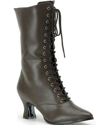 Brown Lace Up Victorian Womens Boots